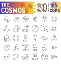 cosmos thin line icon set space symbol collection vector image