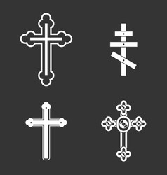 cross icon set grey vector image