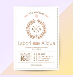 cute wedding invitation card with flower wreath vector image
