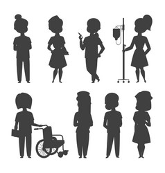 doctor nurse character silhouette medical vector image