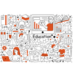 education doodle set vector image