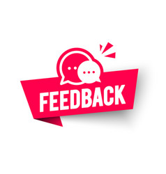 Feedback label web banner with speech bubble vector