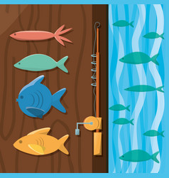 Fish and rod over wood and sea vector