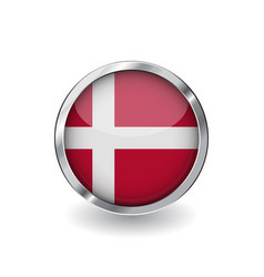 Flag of denmark button with metal frame and vector