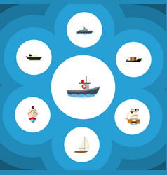 flat icon boat set of cargo delivery transport vector image