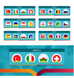football 2020 tournament final stage groups stock vector image
