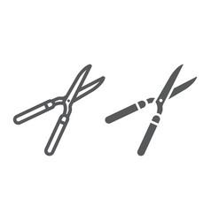 Garden shears line and glyph icon farming vector