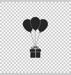 gift box with balloons icon isolated vector image