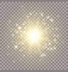 Golden explosion with light effects vector