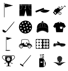 Golf icons set simple style vector