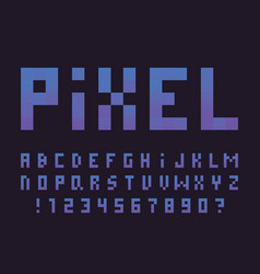 gradient pixel font alphabet vector image