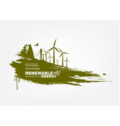 Grunge wind turbine renewable energy vector