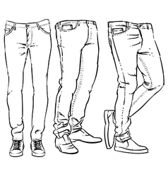 Hand drawn fashion design men denim vector image