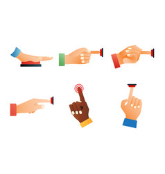 hand press red button finger press control push vector image