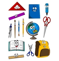 Happy cartoon school supplies characters vector