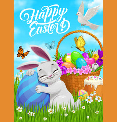 happy easter poster bunny hug painted egg vector image