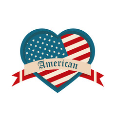 happy independence day american flag shaped heart vector image