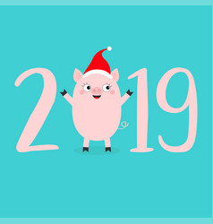 happy new year 2019 pink text cute bapig in vector image