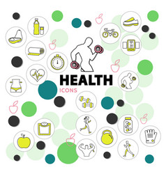 Health line icons set vector
