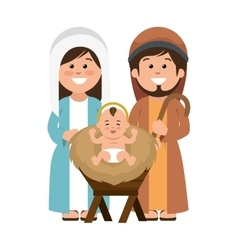 Holy family manger characters vector