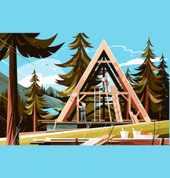 home construction in picturesque place vector image