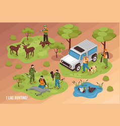 Hunting scene isometric vector