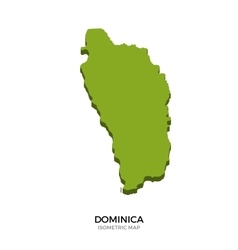 Isometric map of Dominica detailed vector image
