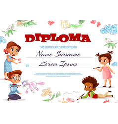 Kids diploma certificate vector