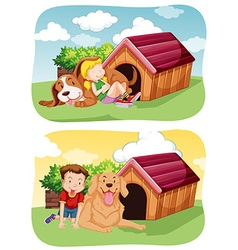 Kids with their pet dog in garden vector image