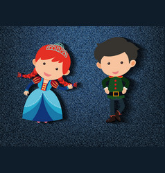 Little prince and princess cartoon character vector