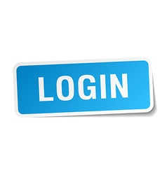 Login blue square sticker isolated on white vector