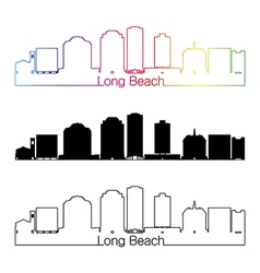 Long Beach V2 skyline linear style with rainbow vector image