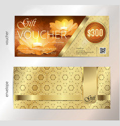 luxury golden and gift voucher for festival of vector image