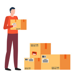 man work as courier at post office parcel boxes vector image