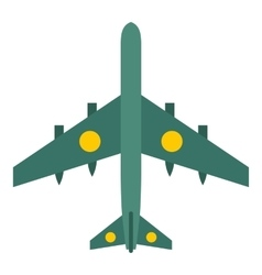 Military aircraft with missiles icon flat style vector image