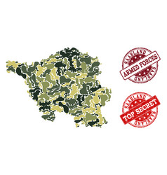 Military camouflage composition of map of saarland vector