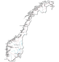 Norway Black White Map vector image