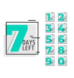 Number days left promotional trendy banner vector