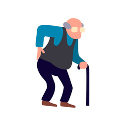 Old man is having back pain senior injury health vector