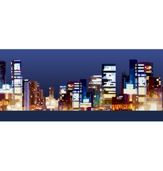 Panorama of the city at night vector