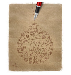 Pen line drawing christmas tree toy ball kraft vector