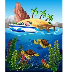 People in boat and turtles under the sea vector