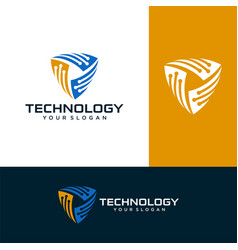 pixel shield logo designs concept stock vector image