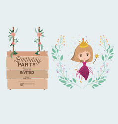 Princess with wooden label invitation card vector