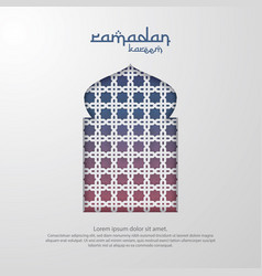 ramadan kareem islamic greeting card design with vector image