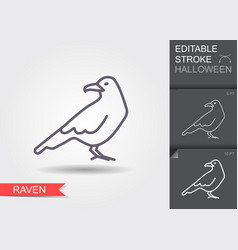 raven line icon with editable stroke with shadow vector image