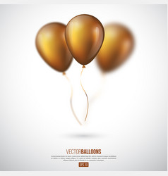 Realistic 3d glossy golden ballons vector