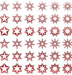 Red star shape set vector