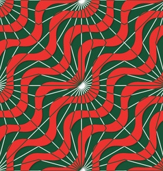 Retro 3D red green waves and rays vector