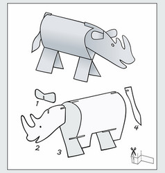 Rhinoceros from pieces paper composite figure vector